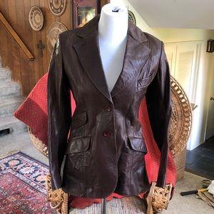 Vintage Dark Brown Blazer Style Leather Jacket